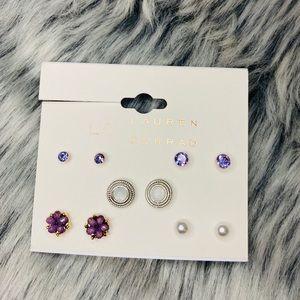 Purple tones dainty assorted stud earrings 5 pairs